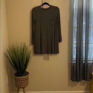 Hunter Green Long Sleeve Casual Loose Dress